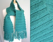 Teal Blue Green Wool Scarf