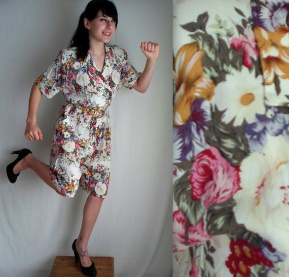 Rainbow Floral Romper with Pockets & Belt