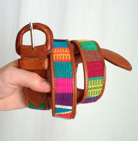 Rainbow Leather Guatemalan Belt