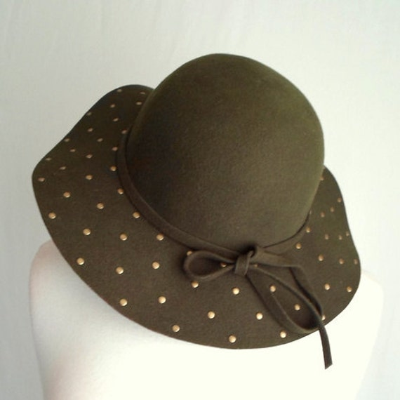 Olive Green Gold Studded Hat with Bow