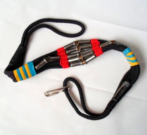 Unique Metal Leather & Cord Belt