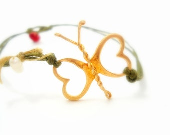 bracelet with gold butterfly- FREE SHIPPING-  pearl and silk in combination on cotton thread,red coral,green