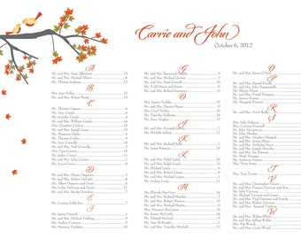 Love birds in tree Fall themed seating chart maple leaves DIY 24 hour turnaround
