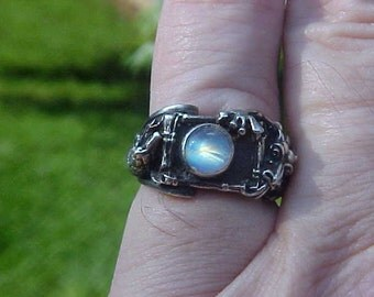 Snake and Oriental Dragon with 6.5 mm RAINBOW MOONSTONE Cabochon KAM Design Ring in Sterling Silver