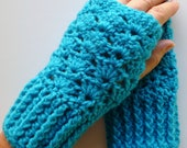 Aqua Blue Fingerless Gloves  Aqua Blue Wrist Warmers Handmade Crochet