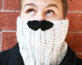 Mustache Neckwarmer. Perfect Cowl, Scarf for Men. Moustache