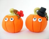 Fall wedding cake topper, pumpkin bride and groom, Halloween wedding, cute, funny, orange