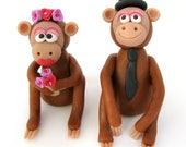 Monkey wedding cake topper, bride and groom