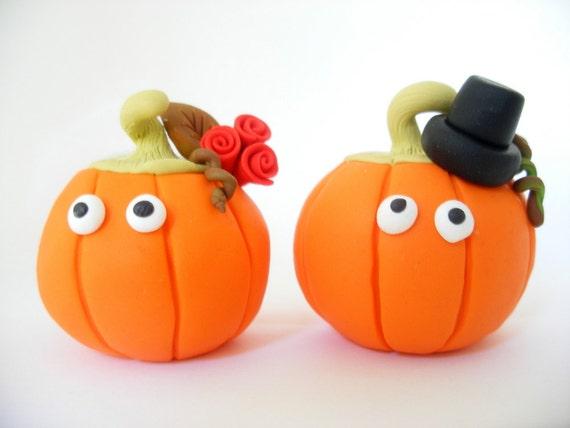 Fall wedding cake topper, pumpkin bride and groom, Halloween wedding, cute, funny, orange