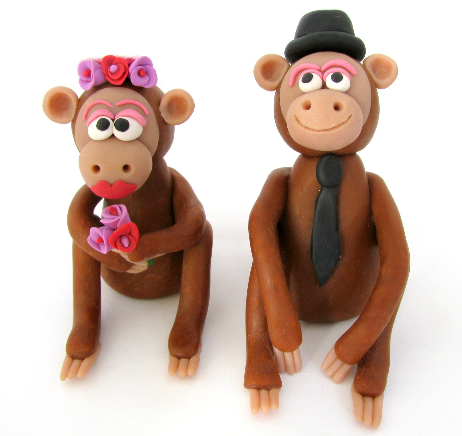 Monkey Wedding Cake Topper Bride And Groom