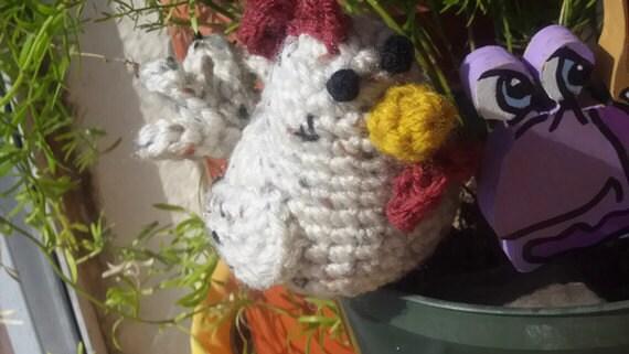 Crochet Stuffed Chicken - Offwhite Chicken Amigurumi with Cranberry Comb- Little Chicken Plush Home Decor