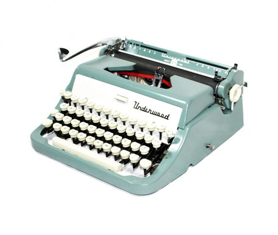 Sea Green Underwood Typewriter in Original Case
