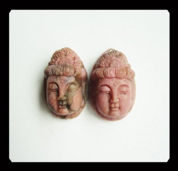 Carved Rhodonite Buddha Head Cabochon Pair,15x26x13mm,18.2g