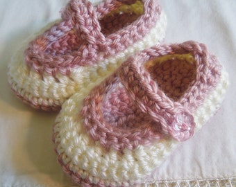 Baby Girl Booties, Baby Shoes, Maryjane Shoes, Crocheted Booties, Victorian Rose and White, 0-3, 3-6 Months