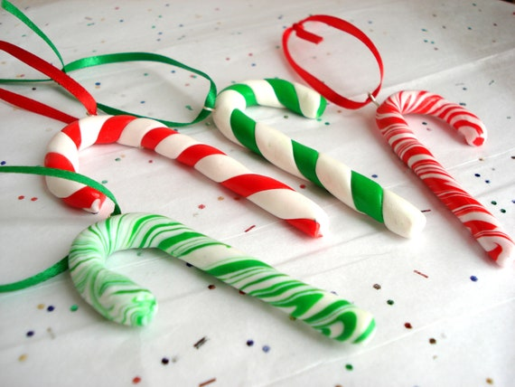 Candy Cane Ornaments, Polymer Clay Candy Cane Ornaments, Set of 4