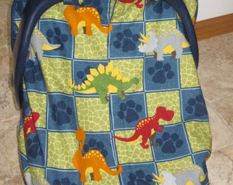Fitted Car Seat Canopy for Infant Car Seat -  Colorful Dinosaur Blocks Fabric