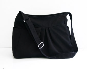 Christmas SALE - Black Canvas Purse / Messenger / Shoulder bag / Tote / Travel / Pleats / Side pockets & Large Zippered Pocket