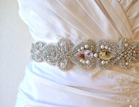 Bridal crystal embellished swarovski pearl sash/belt.  VINTAGE SCROLL.