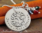 Hand Stamped Mommy Necklace - Personalized Jewelry Sterling Silver Family Tree Pendant - My Family (Small)