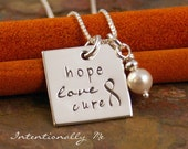 Hand Stamped Necklace - Personalized Sterling Silver Jewelry - Square Hope, Love, Cure Necklace with pearl (Cancer awareness)