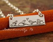 Personalized Jewelry - Hand Stamped Mommy Necklace - Sterling Silver Necklace- Love Birds Family necklace