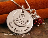 Sterling Silver Hand Stamped Necklace - We love you Grandma stack - Personalized Custom Jewelry