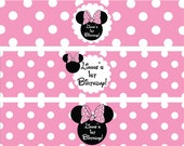 Minnie Mouse Water Bottle Labels in Light Pink
