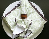 Cloth Dinner Napkins, Green and White Damask Trimmed In Brown, Set of 6