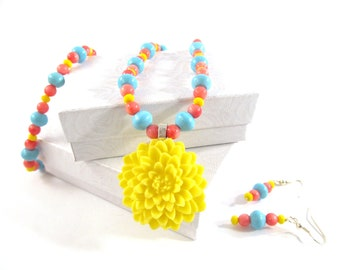 Dandelion Yellow Coral Turquoise necklace set