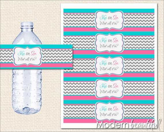 INSTANT DOWNLOAD Pink and Blue Gender Reveal Water Bottle