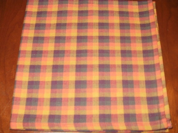 Sale...4 Autumn Dinner Napkins...Plaid...17 inches...Stitched Hems NOT Serged...FREE SHIPPING