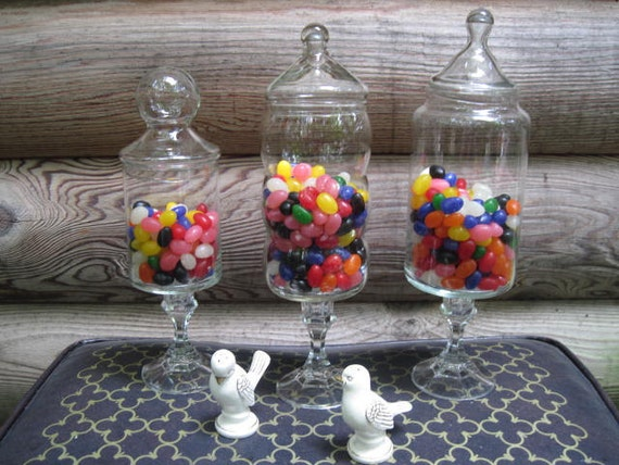 Upcycled Candy Buffet Apothecary Jars Holds One Pound Each