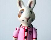 White Rabbit - Girl in Pink Dress and Gold Handbag - Valentines Day