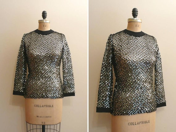 Vintage 1960s Black and Silver Sequin Sweater