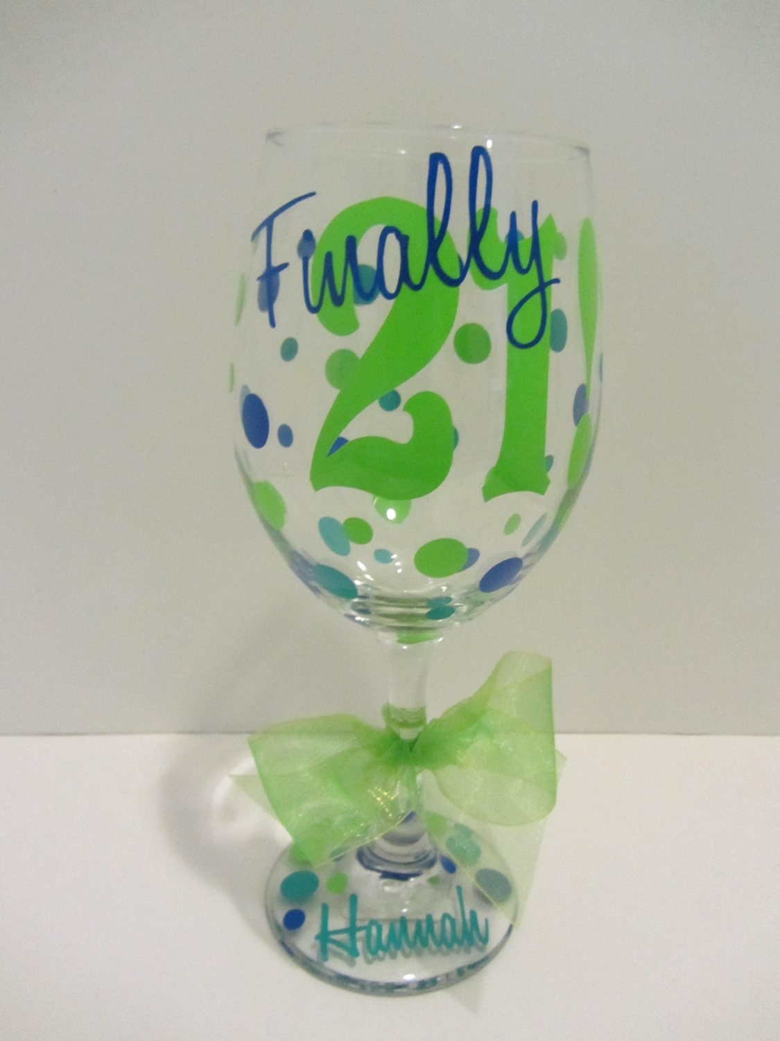 Extra Large Personalized Wine Glass Finally 21 By