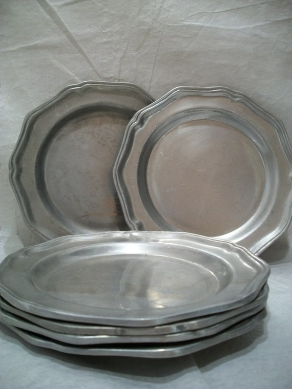Vintage Wilton Columbia Pewter Plate Set Of 6 Heavy By
