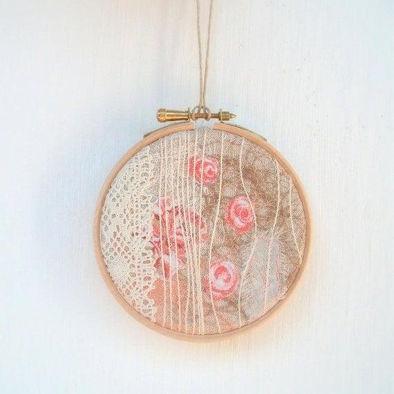 Rose bush embroidery hoop wall art 4 inch frame