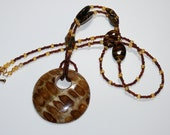 Wooden Brown Pendant on Tiger Caramel Beaded Necklace