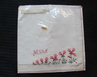 Beautiful White Cotton Hankie Handkerchief - Monogrammed Nestle - Unused New - Souvenir