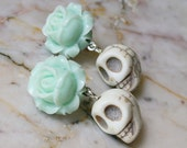 Day of the Dead Dia de los Muertos Frida Kahlo Romantic Mint Rose Turquoise Sugar Skull Kawaii Dangle Hypoallergenic Stud Post Earrings