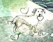 """pet dog with hearts """"Le chien avec des coeurs"""" print"""