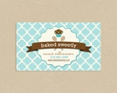 Printable Business Card Baked Sweetly Cupcake Soft Blue Badge and Tile Pattern