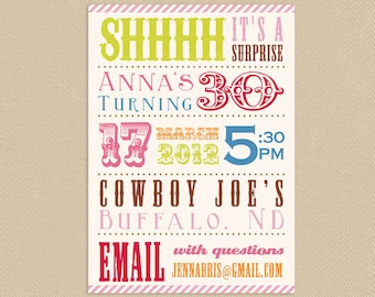 Printable Surprise Birthday Party Invitation 4x6 or 5x7 Colorful Circus Poster