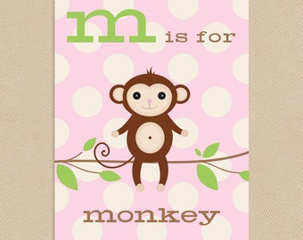 Monkey Printable Art Pink Dots Nursery Kid's Room 8x10 Alphabet - M is for Monkey