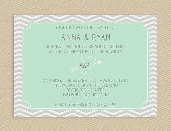 Printable Wedding Invitation 5x7 Grey Chevron and Mint