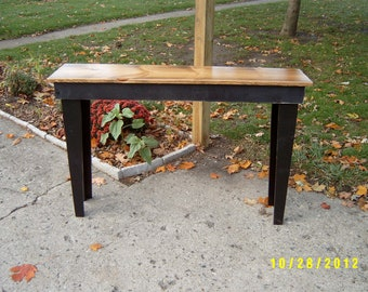 salvaged, reclaimed, sofa table console entryway recycled material custom made, tall bench
