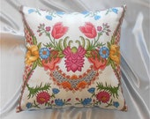 "16"" pillow cover in bright, floral, blue, coral, gold, pink, orange"