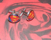 SUPERMAN CUFFLINKS (or create your own) silver plated 15mm glass PERFECT for your hubby, dad, son, or wedding