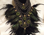 Feather Statement Necklace n Earring Set, Vintage glass beaded Bib Neck Piece, Dramatic Statement Haute Couture Demi Parure