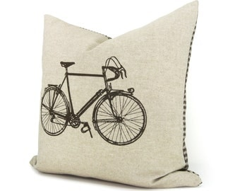 Brown and natural beige vintage bicycle pillow case with houndstooth accent | 16x16 or 12x18 decorative cushion cover | Retro modern decor